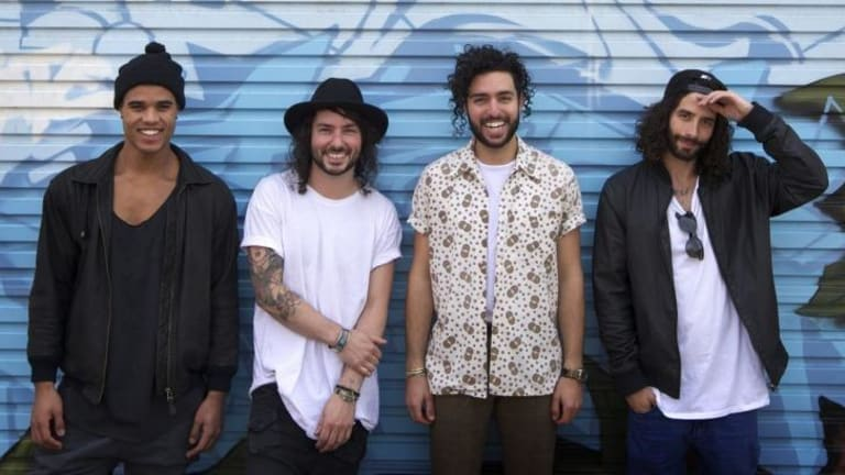 Jakubi band members L-R Jerome Farah, Addam Kane, Jesse Rehaut and Roberto Amoruso photographed in Fitzroy.