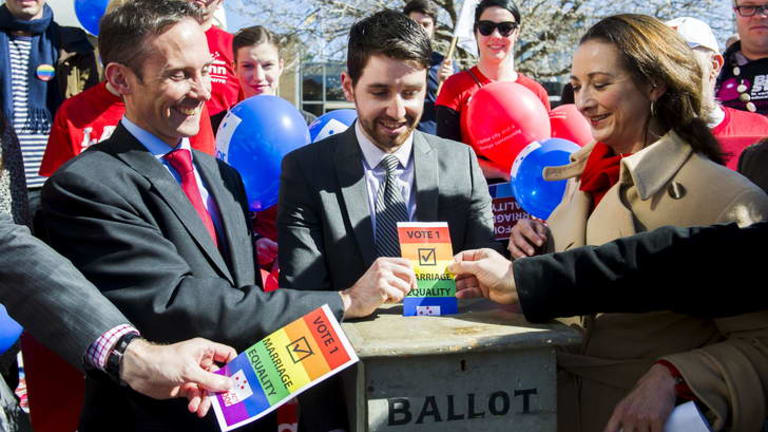 Campaign: Labor MP's Andrew Leigh and Gai Brodtmann with gay marriage advocates during a pro-gay marriage demonstration in Canberra this month.