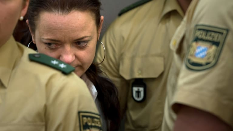 Defendant Beate Zschaepe arrives in court on the second day of the NSU neo-Nazi murder trial on May 14, 2013, in Munich, Germany.