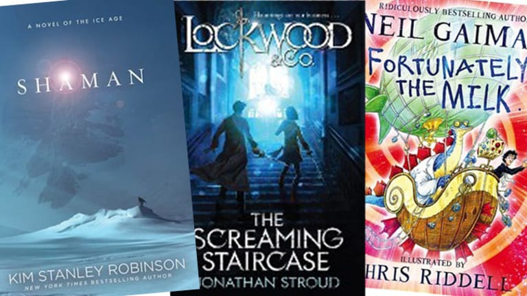 <i>Shaman</i> by Kim Stanley Robinson; <i>The Screaming Staircase</i> by Jonathan Stroud and <i>Fortunately The Milk</i> by Neil Gaiman.