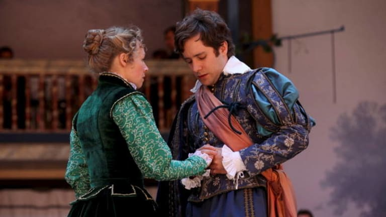 Bright prospects ... Ellie Piercey as the orphaned heroine Helena and Sam Crane as the young aristocrat Bertram in the Shakespeare's Globe production of <i>All's Well That Ends Well</i>, screening in Australia.