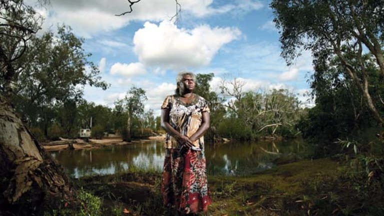 """Protest ... Yvonne Margarula, a  Mirarr elder, near a monitoring station on Magela Creek. """"Rio Tinto] don't tell us the whole story. [They] treat us mob like something else, like we don't know, like kids."""""""