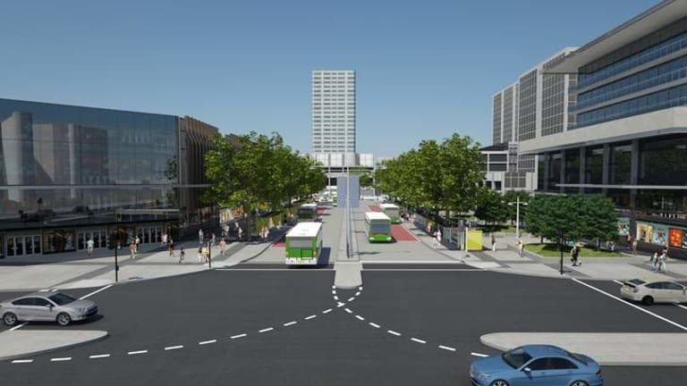An artist's impression of the proposed Woden bus station from Callam Street.