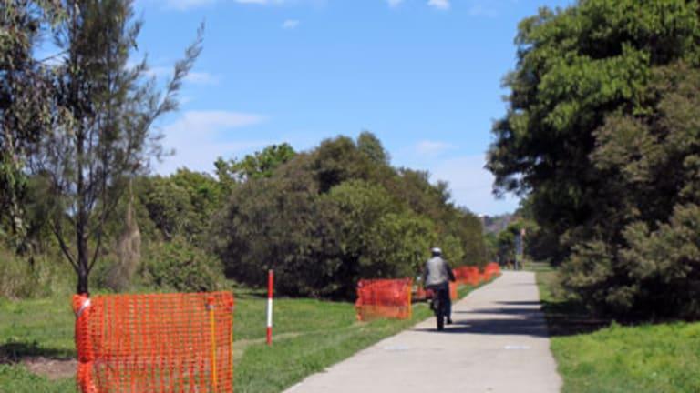 The biketrack in Albert Bishop Park near where William Cooma's body was found.