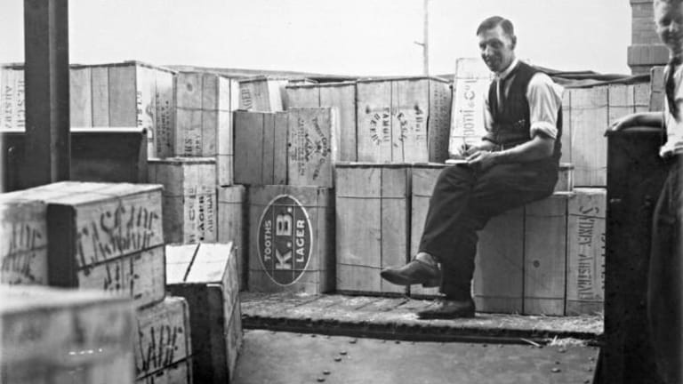 A 1928 photograph of the first load of alcohol ever legally delivered to Canberra.