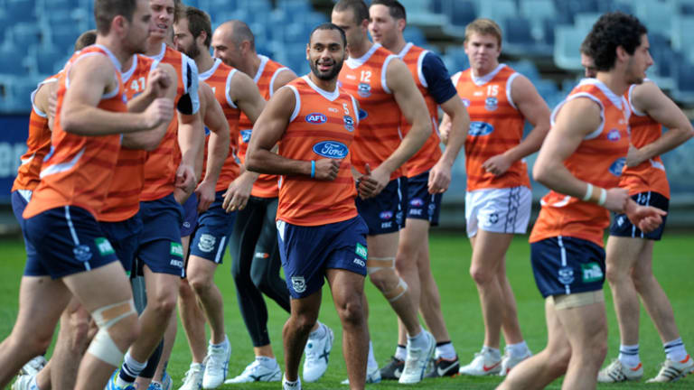 Return: Travis Varcoe trains with Geelong yesterday. He has missed much of the year with a foot problem.