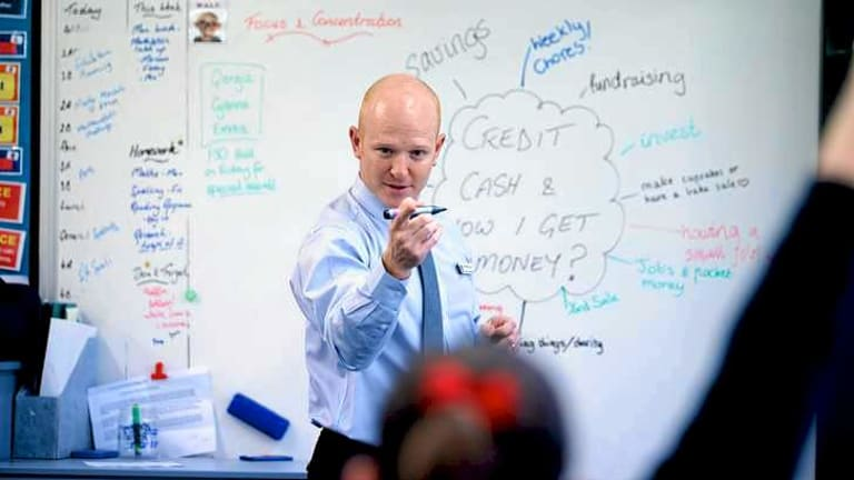 Ben Clapp, MoneySmart co-ordinator at Mentone Girls Grammar, advises his students about the value of money.