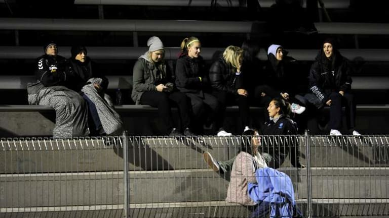 Devoted fans at the Australia v New Zealand international on Thursday. The game wasn't promoted to the public.