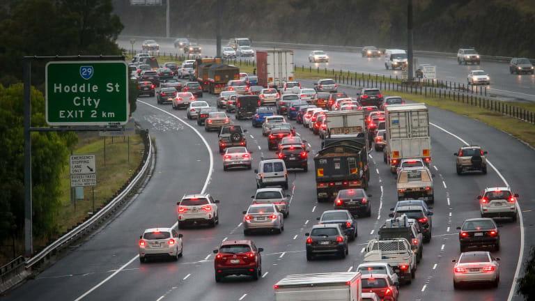 Morning traffic jam on the Eastern Freeway.