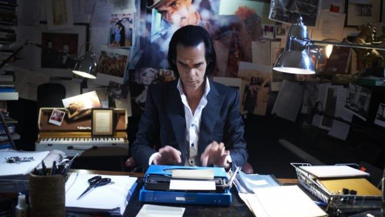 Nick Cave at his typewriter.