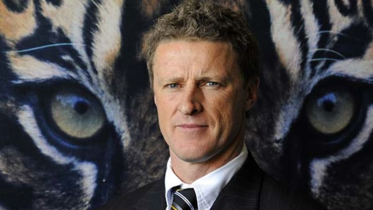 """Eyes on the Tiger: Richmond coach Damien Hardwick has resolved to """"take the scoreboard out of it a little bit""""."""