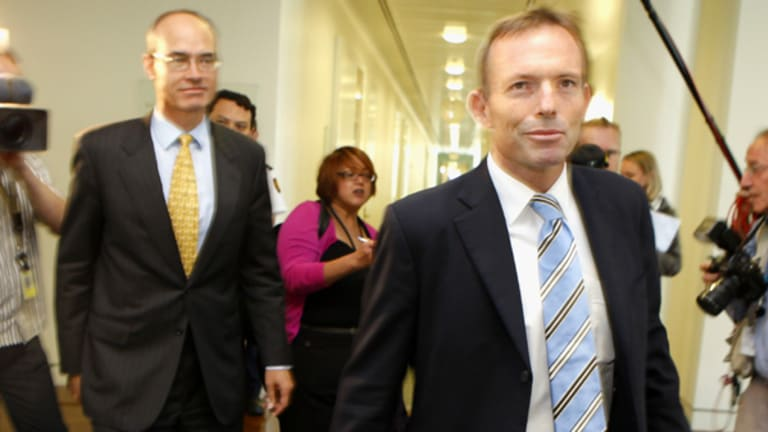 New Leader of the Opposition Tony Abbott emerges triumphant after the leadership spill.