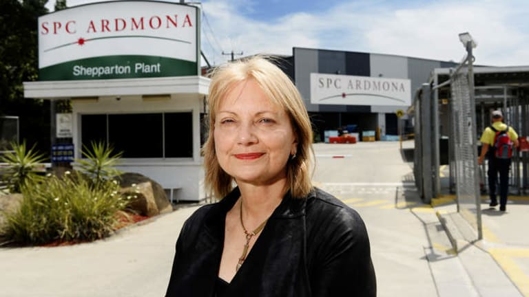 Dr Sharman Stone at the SPC/Ardmona plant in Shepparton.