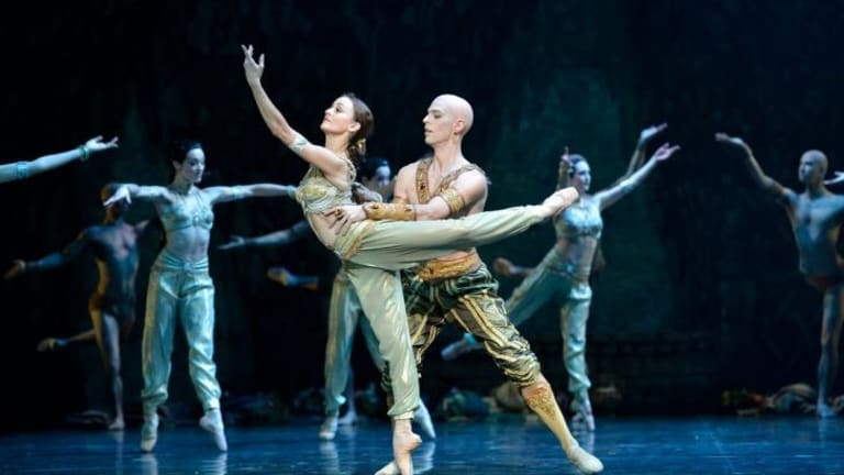 Ballet meets Bollywood: Nikiya (Madeleine Eastoe) and the High Bramin (Andrew Killian) in a scene from act one.