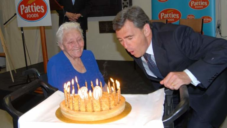 Premier John Brumby and Annie Rijs at the opening of a $21 million plant extension in November 2008, on Four'n Twenty's 60th birthday.