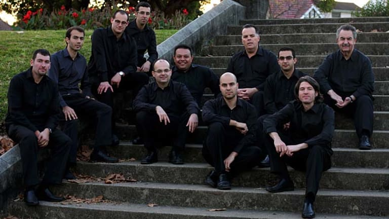 Bonds ... Basil Stavropoulos, top right, with the Melisma Ensemble that he joined last year.