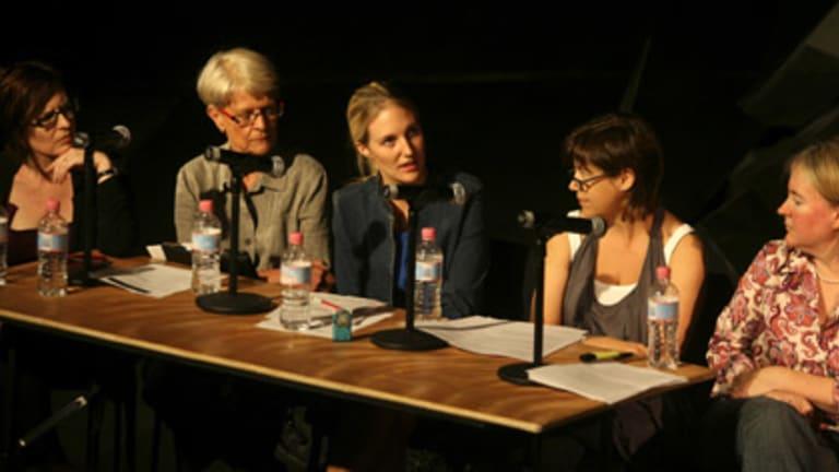 Raising public awareness... Alison Croggon, Gil Appleton, Shannon Murphy, Marion Potts and Rachel Healy at Belvoir St Theatre yesterday.