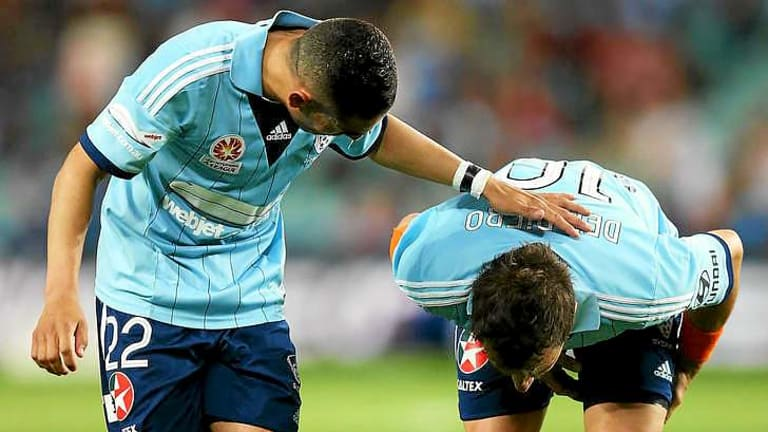 On the mend: Sydney FC skipper Alessandro Del Piero (right) has struggled with back and hamstring issues.