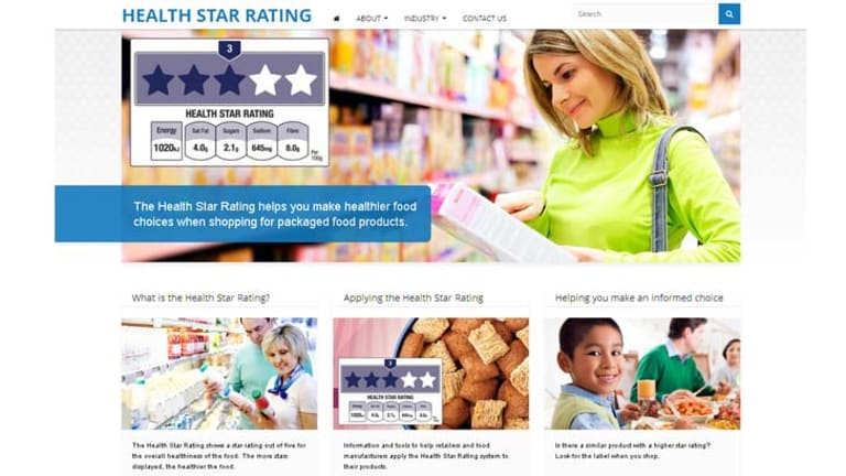 """A screen grab of the """"health star rating"""" website before it was discontinued."""