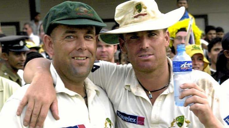 Together again: former Test teammates Shane Warne, right, and Darren Lehmann.