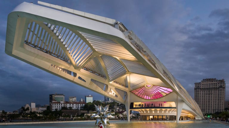 Back view of the new Museu do Amanha (Museum of Tomorrow) facing Guanabara Bay in Rio.