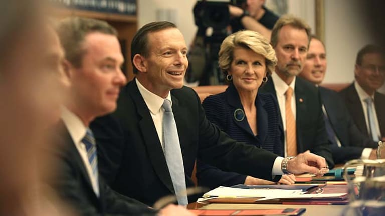 Little room for dissent: Prime Minister Tony Abbott and his cabinet.