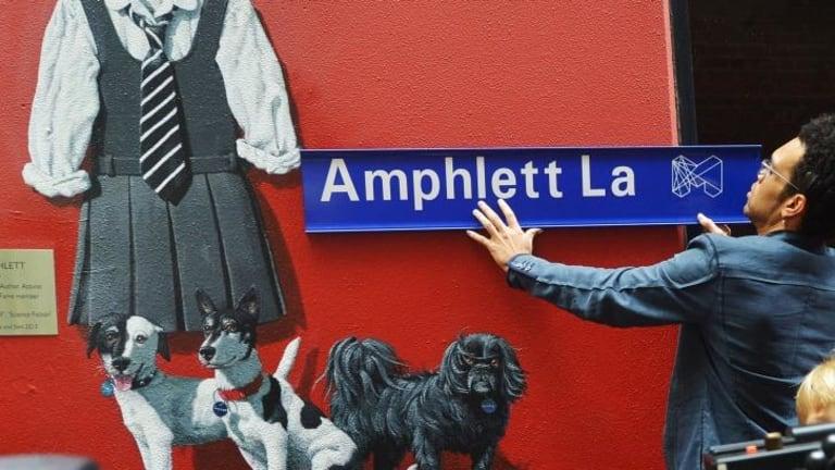 Charley Drayton at the opening of Amphlett Lane, named after rock singer Chrissy Amphlett.