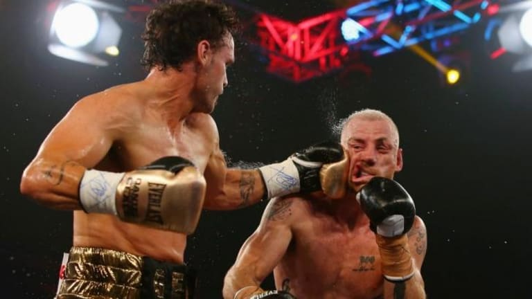 Daniel Geale punches Garth Wood during the I.B.F. Middleweight Pan Pacific title bout at the Hordern Pavilion in February.