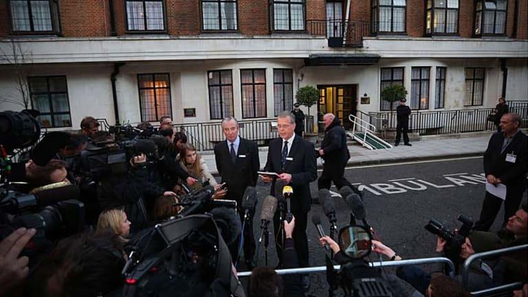 King Edward VII hospital chief executive John Lofthouse, right, and the hospital's chairman, Simon Glenarthur, address the media in London.