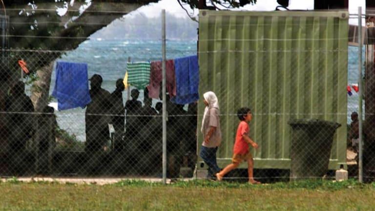 Asylum seekers at Lombrum Naval Base, Manus Island in 2013.