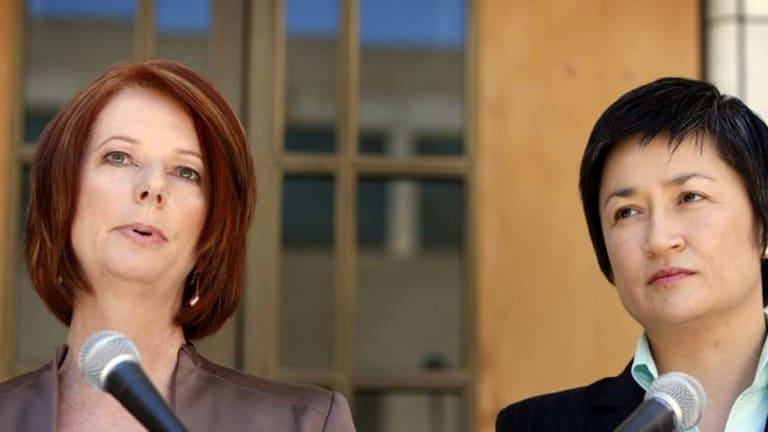 Bucking the international trend ... Julia Gillard and Penny Wong.