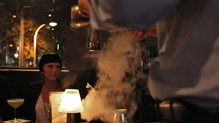 """Liquid nitrogen at The Roosevelt Bar. It is """"used as a method of preparation but there's no nitrogen in the drinks"""" ... owner Sven Almenning."""