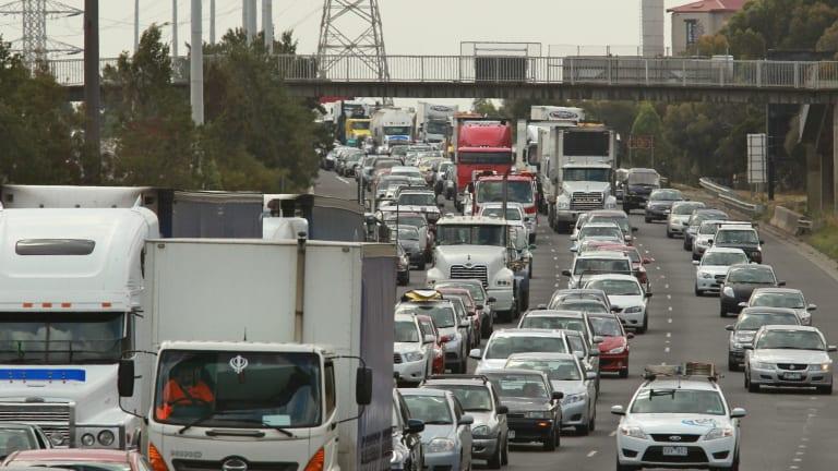West Gate bridge traffic jam