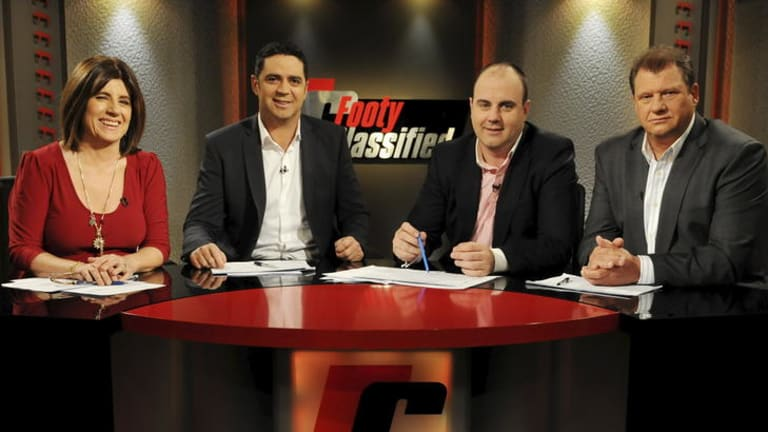 The team at <i>Footy Classified</i> are (from left) Caroline Wilson, Garry Lyon, Craig Hutchison and Grant Thomas.