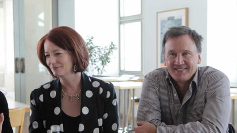 Prime Minister Julia Gillard and her partner, Tim Mathieson. <i>Photo: Andrew Meares</i>