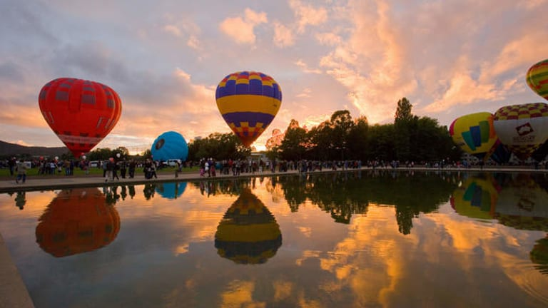 Early morning at the Canberra Festival Balloon Spectacular in 2010.