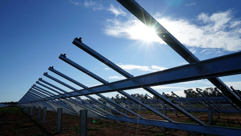 Lining up: AGL's Nyngan solar array awaits PV panels.