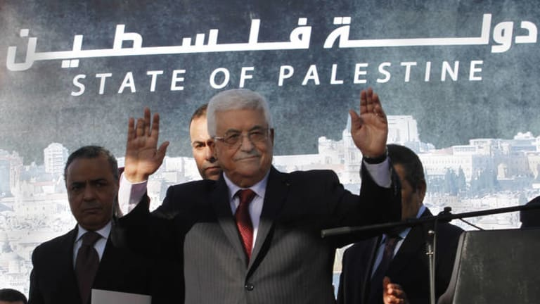 ''We have become a state'' … Mahmoud Abbas addresses supporters.