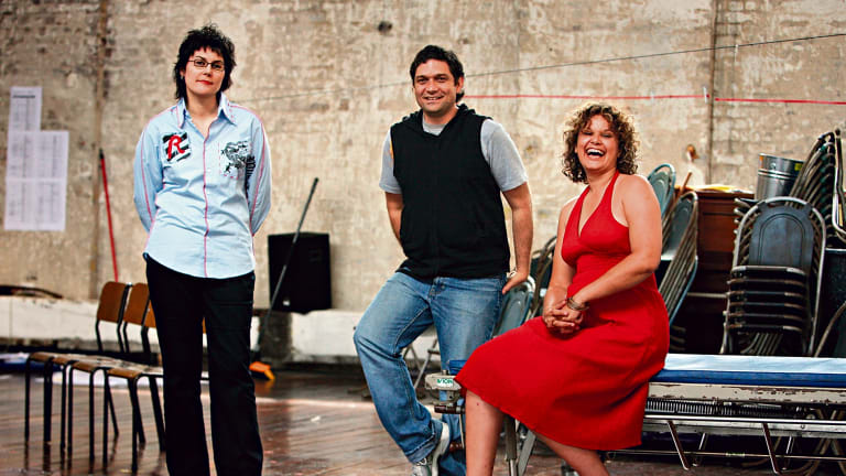 Playwright Alana Valentine, director Wesley Enoch and Leah Purcell in rehearsals for <i>Paramatta Girls</i> at Belvoir St Theatre in 2007.