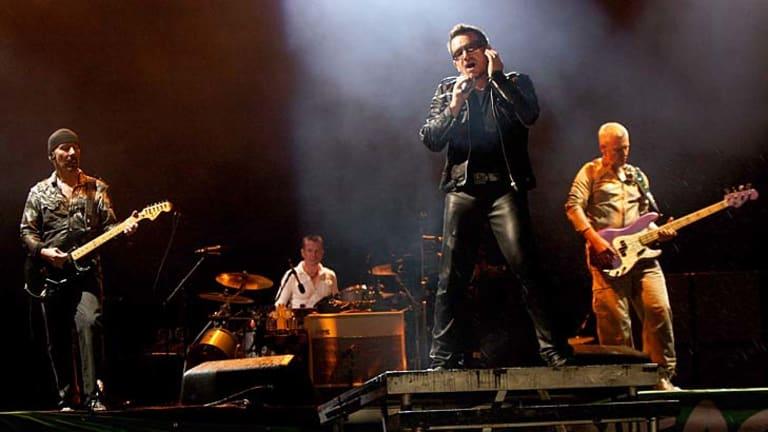 Adam Clayton, Bono Larry Mullen Jr and The Edge of U2 perform at the Glastonbury Festival at Worthy Farm, England.