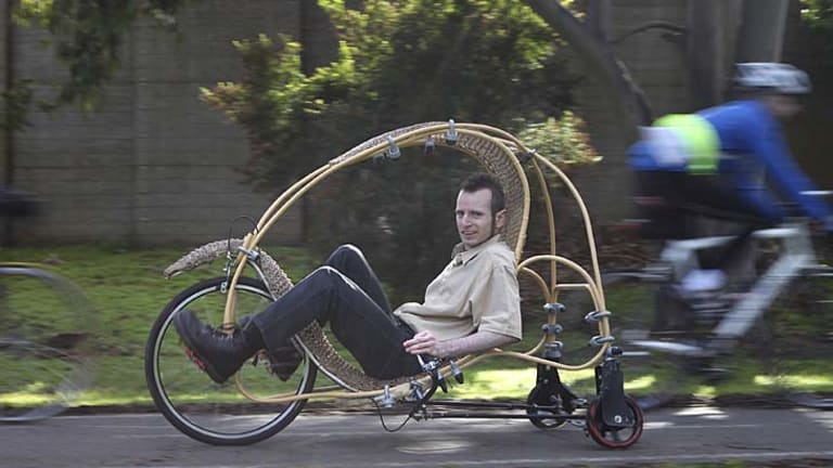 Alexander Vittouris takes his ''partial-faring velomobile'' for a spin.