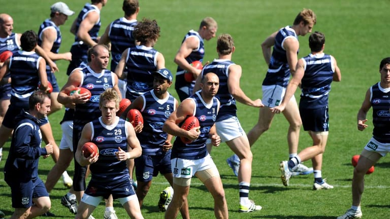 James Podsiadly and the Geelong team during training.