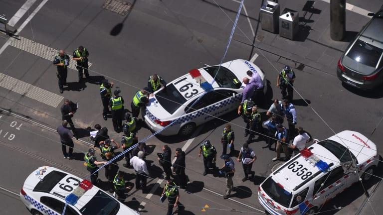 Police lock down Bourke Street Mall on January 20. Photo: Eddie Jim