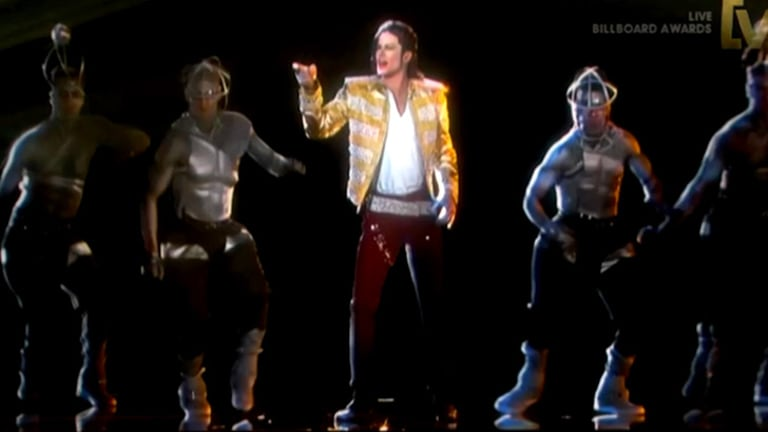 Michael Jackson's so-called hologram takes the stage.