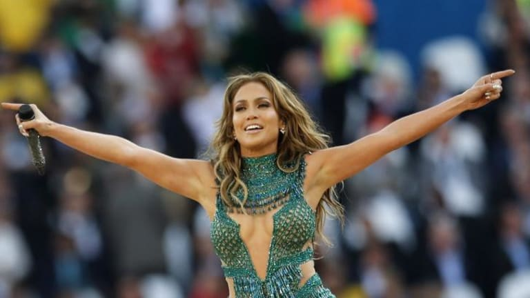 Pop singer singer Jennifer Lopez performs at the 2014 World Cup opening ceremony.