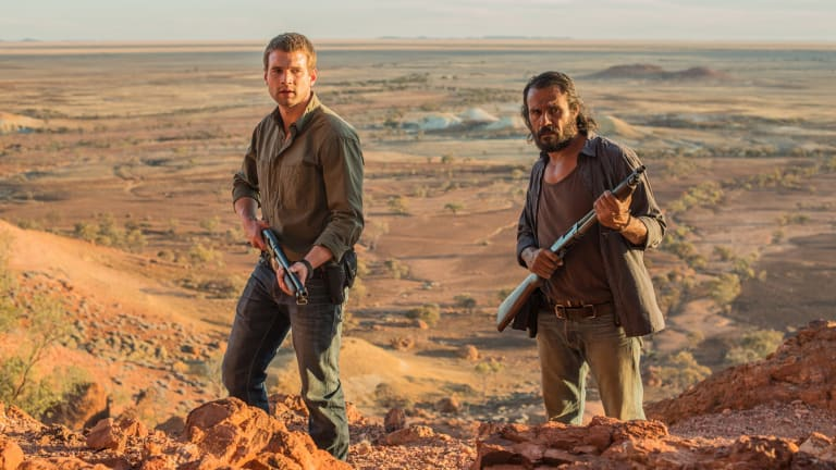 Alex Russell (left) and Aaron Pedersen team up as grudging partners in crime-fighting, in the anti-noir landscape of <i>Goldstone</i>.