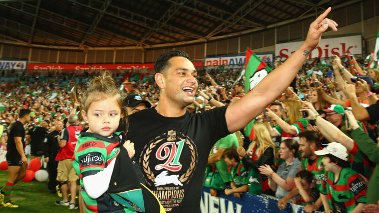 Highs and lows: John Sutton celebrates the Rabbitohs' grand final victory last year.