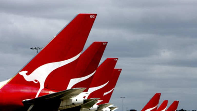 A Qantas plane was grounded in Perth overnight after being struck by lightning.
