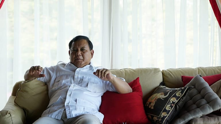 Prabowo Subianto being interviewed by Fairfax Media at his home in Hambalang, West Java