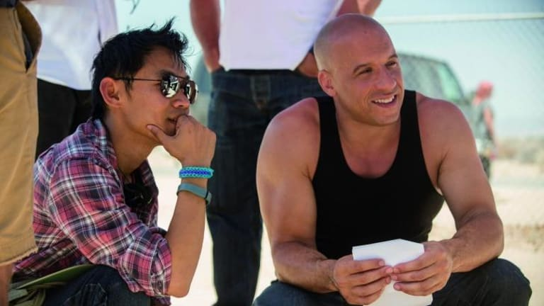 Director James Wan and Vin Diesel on the set of <i>Furious 7</i>.